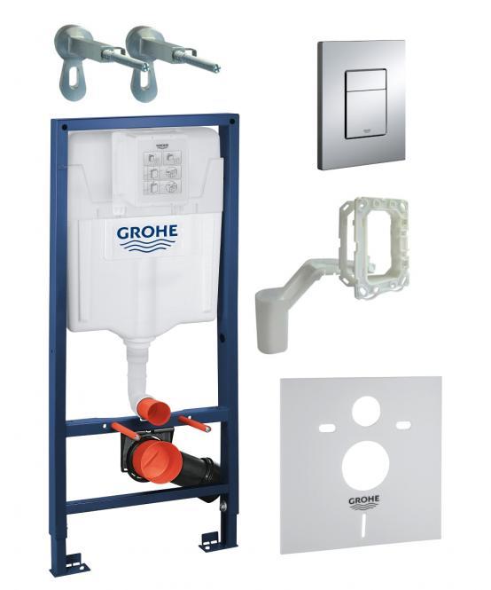 GROHE Komplekts WC rāmis + taustiņš Skate Cosmopolitan + sienas stiprinājumi + poda blīve + GROHE Fresh 38827000