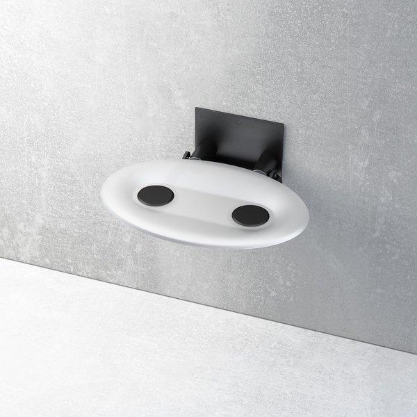 RAVAK OVO P Opal/Black dušas sēdeklis balts/melns 35x41x13 B8F0000043