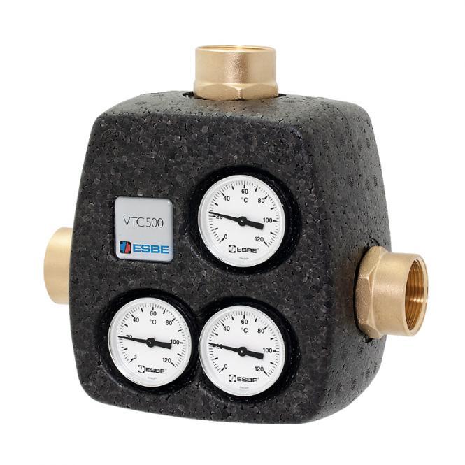 ESBE Termovārsts ar izolāciju VTC531 DN25 Kvs.8 60°C G 1'' ar termometriem